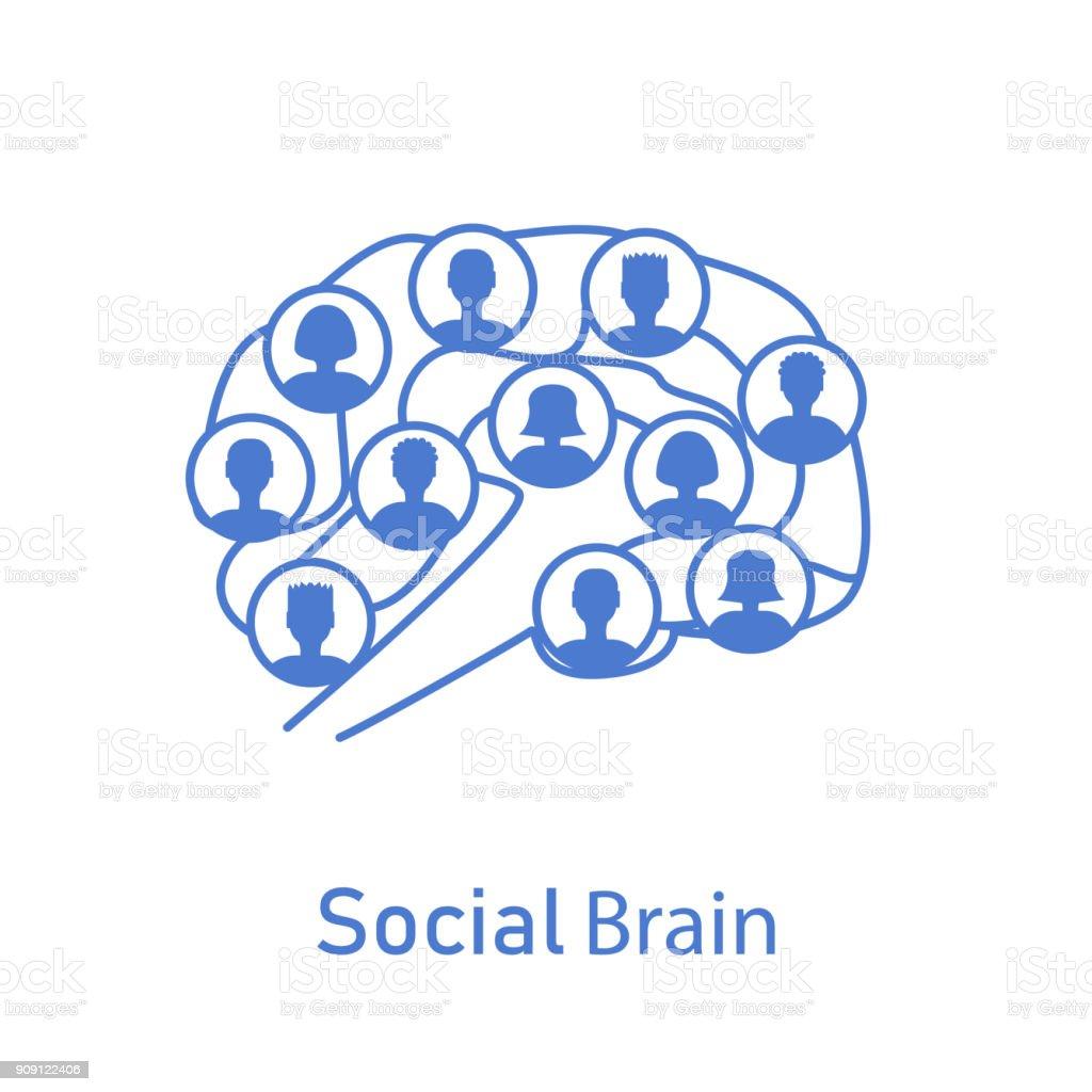social brain with human icons vector art illustration