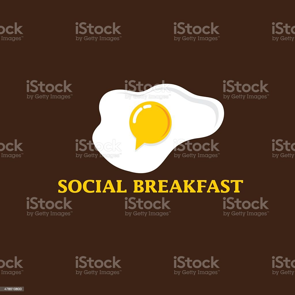 social breakfast with fried eggs vector design template vector art illustration