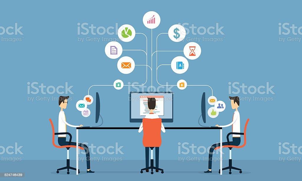 social business connection vector art illustration
