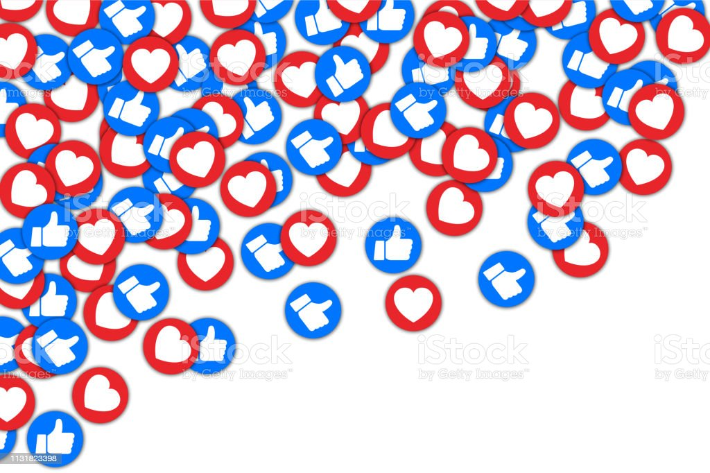 Social buttons thumb up like and red heart background. Social media...