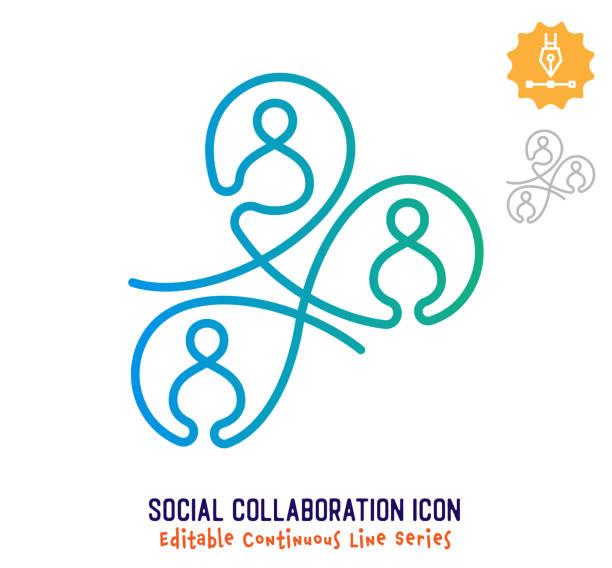 ilustrações, clipart, desenhos animados e ícones de linha de traçado editável de linha contínua de colaboração social - entrepreneurship