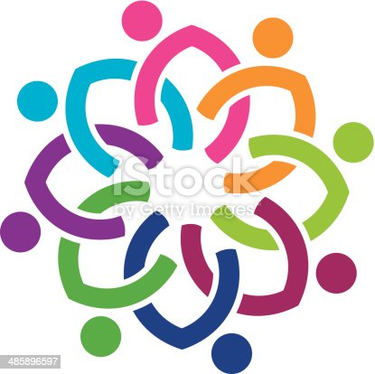 Social colorful nation of diversity flower logo icon