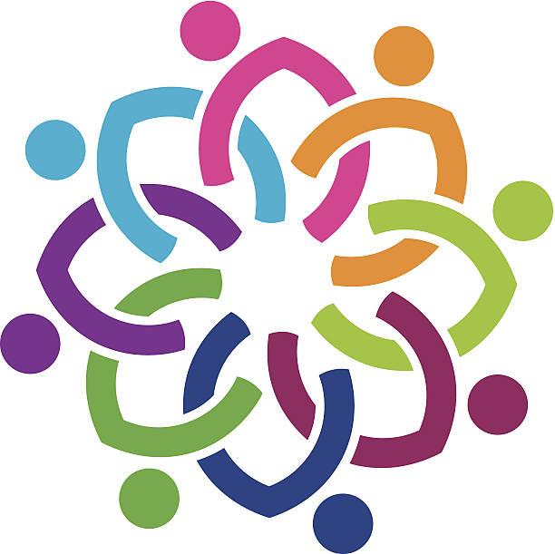 ilustrações de stock, clip art, desenhos animados e ícones de nação de diversidade social colorida flor logo ícone - future hug