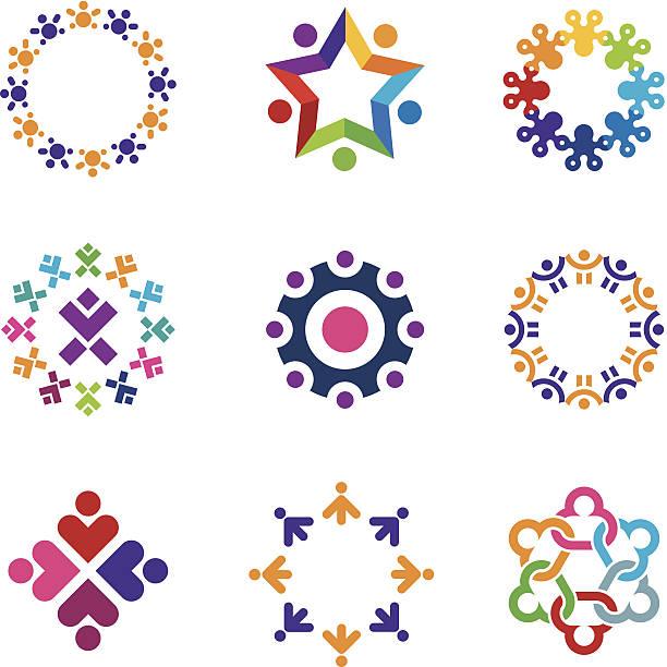 ilustrações de stock, clip art, desenhos animados e ícones de social do mundo colorido comunidade logotipo conjunto de ícones de pessoas círculo - future hug