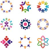 Social colorful world community people circle logo icons set