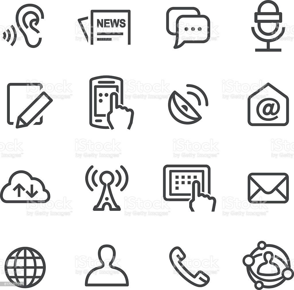 Comunicación Social conjunto de iconos de línea serie - ilustración de arte vectorial