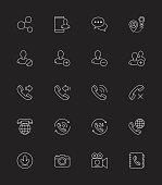 Social Communication icons, Thin line - Vector Illustration