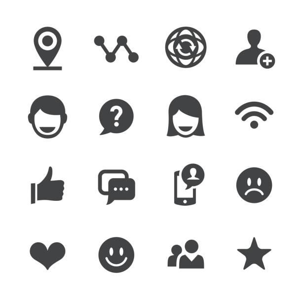 bildbanksillustrationer, clip art samt tecknat material och ikoner med social kommunikation ikoner - acme-serien - kvinna tillfreds
