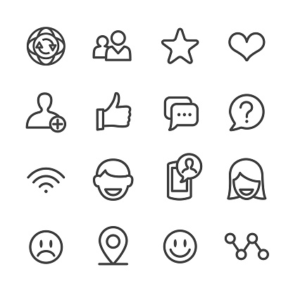 Soziale Kommunikation Icons Line Serie Stock Vektor Art und mehr Bilder von Bewertung
