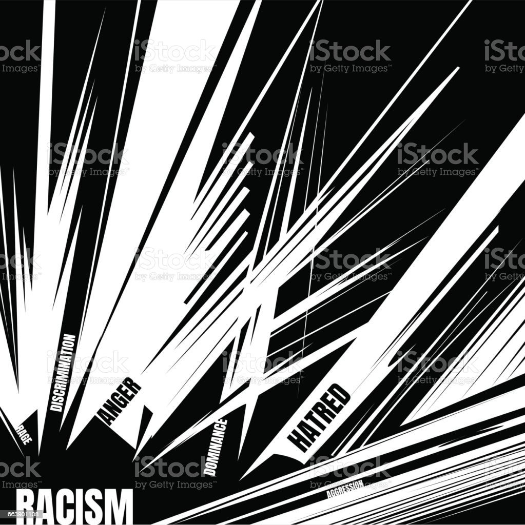 Social concept about racism. Black and white background vector art illustration