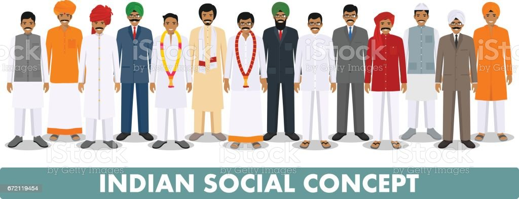 Social concept. Group indian people standing together in different traditional national clothes on white background in flat style. Vector illustration vector art illustration