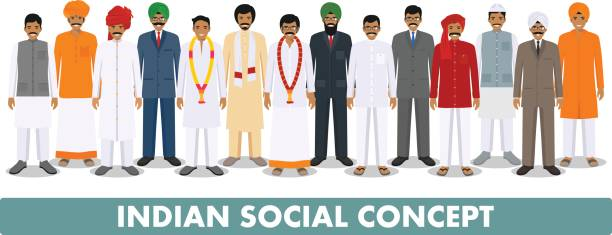 Social concept. Group indian people standing together in different traditional national clothes on white background in flat style. Vector illustration Indian men standing together in row in different traditional national clothes on white background in flat style. Flat design people characters. Social concept. indian family stock illustrations
