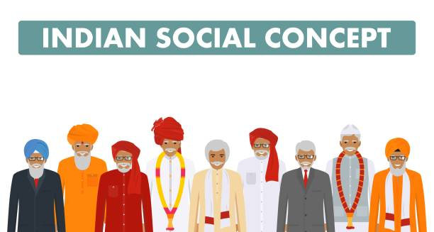 social concept. group indian senior people standing together in different traditional national clothes on white background in flat style. vector illustration. - old man smiling silhouettes stock illustrations, clip art, cartoons, & icons