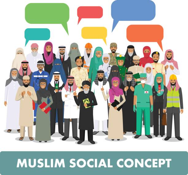 Social concept. Group muslim arabic people professions occupation standing together and speech bubble in different suit and traditional clothes on white background in flat style. Arab man and woman. Arab man and woman different professions standing together and speech bubble on white background in flat style. Flat design people characters. Social concept. Muslim concept. police interview stock illustrations