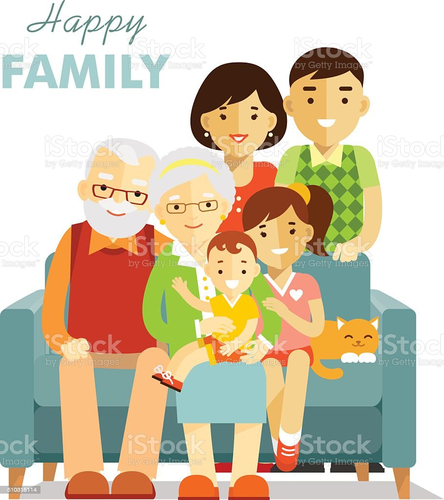 Social concept - happy family three generation together vector art illustration