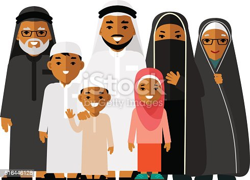 Social Concept Happy Muslim Arabic Family On White ...