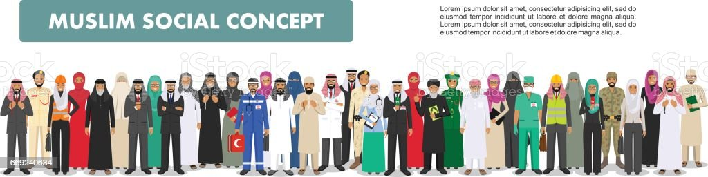 Social concept. Large group muslim arabic people professions occupation standing together in different suit and traditional clothes on white background in flat style. Arab men and women in row. Vector vector art illustration