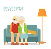 Social concept - old people couple