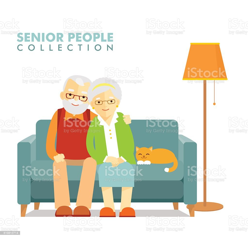Social concept - old people couple vector art illustration