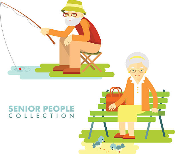 Social concept - old people hobby activity vector art illustration