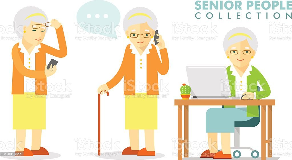 Social concept - old woman using computer and mobile phone vector art illustration