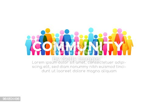 istock Social concept. Vector horizontal decoration element from colorful people icons 964804496