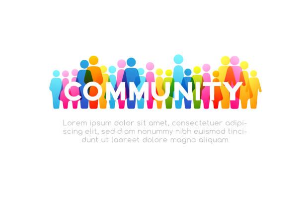 사회 개념입니다. 다채로운 사람들 아이콘에서 벡터 가로 장식 요소 - 개념 stock illustrations