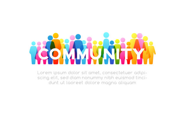 Social concept. Vector horizontal decoration element from colorful people icons vector art illustration