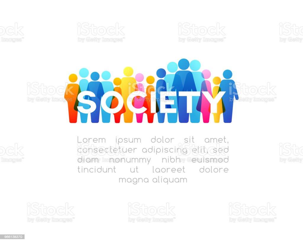 Sociale concept. Horizontale decoratie vectorelement van kleurrijke mensen pictogrammen - Royalty-free Bedrijfsleven vectorkunst