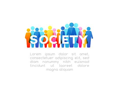 Sociale Concept Horizontale Decoratie Vectorelement Van Kleurrijke Mensen Pictogrammen Stockvectorkunst en meer beelden van Bedrijfsleven