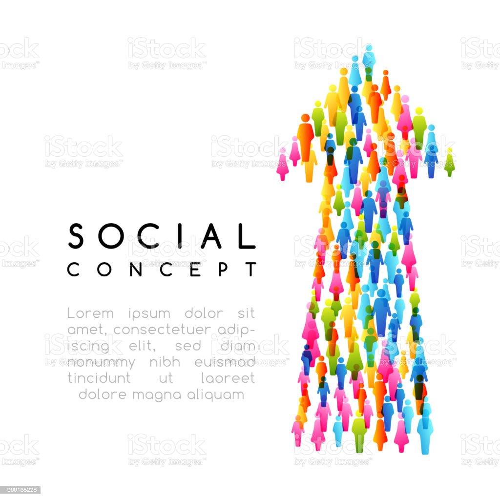 Sociala koncept. Vektorillustration med pilen underteckna med människor - Royaltyfri Datorgrafik vektorgrafik