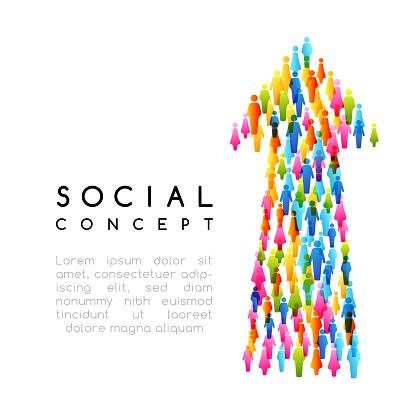 Sociala Koncept Vektorillustration Med Pilen Underteckna Med Människor-vektorgrafik och fler bilder på Datorgrafik