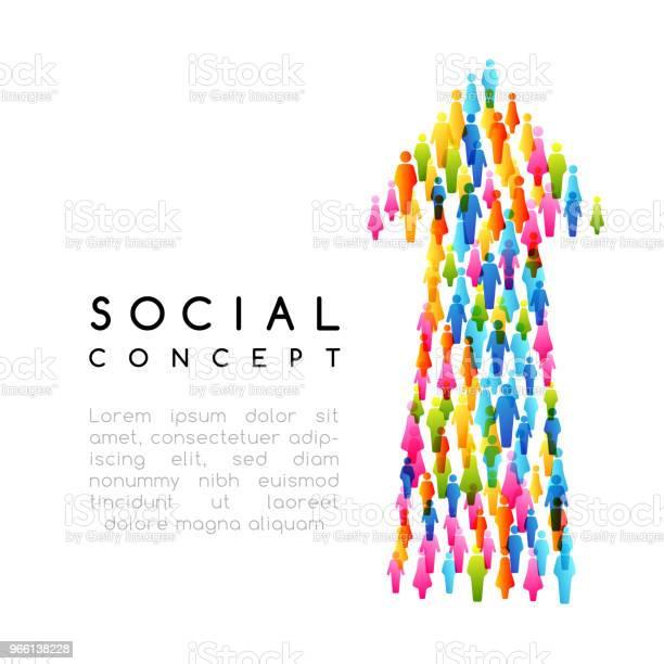 Социальная Концепция Векторная Иллюстрация Со Стрелкой Со Стрелками С Людьми — стоковая векторная графика и другие изображения на тему Бизнес