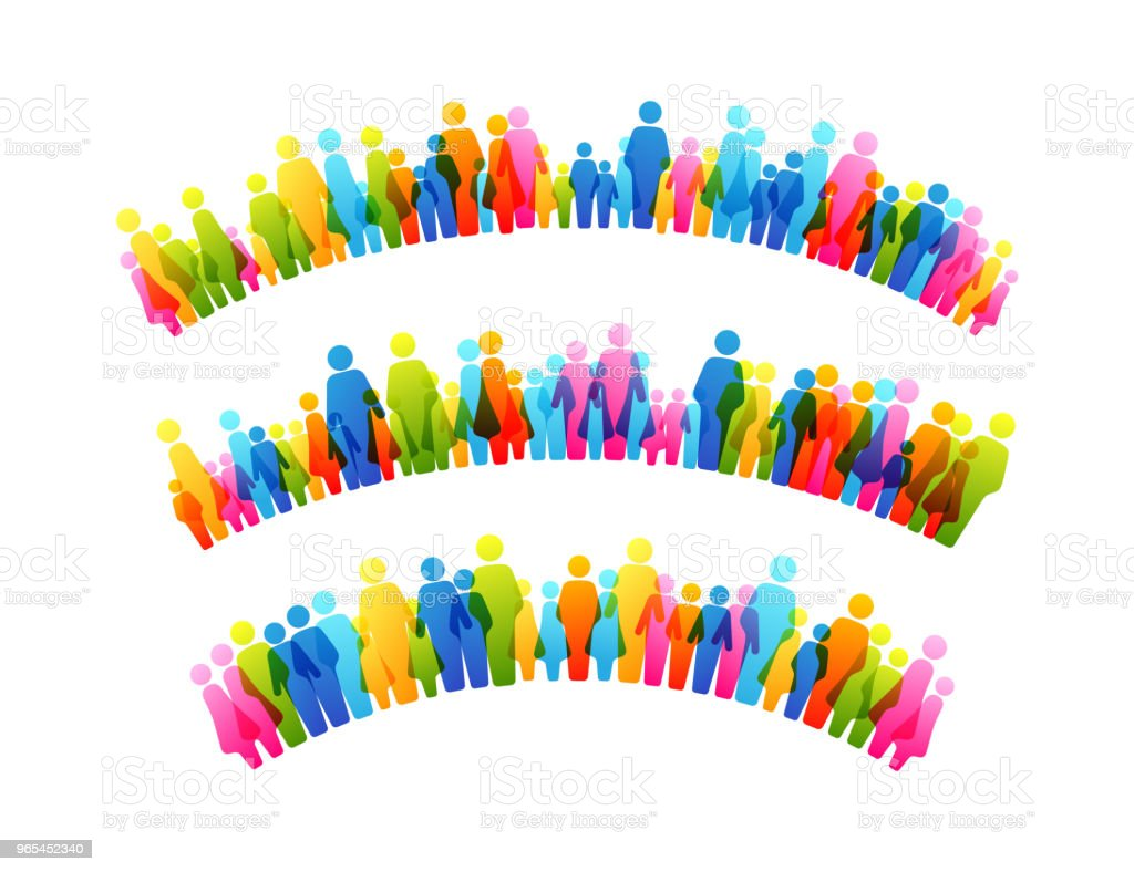 Social conceptual design elements. Arch decorations from colorful people silhouettes royalty-free social conceptual design elements arch decorations from colorful people silhouettes stock illustration - download image now