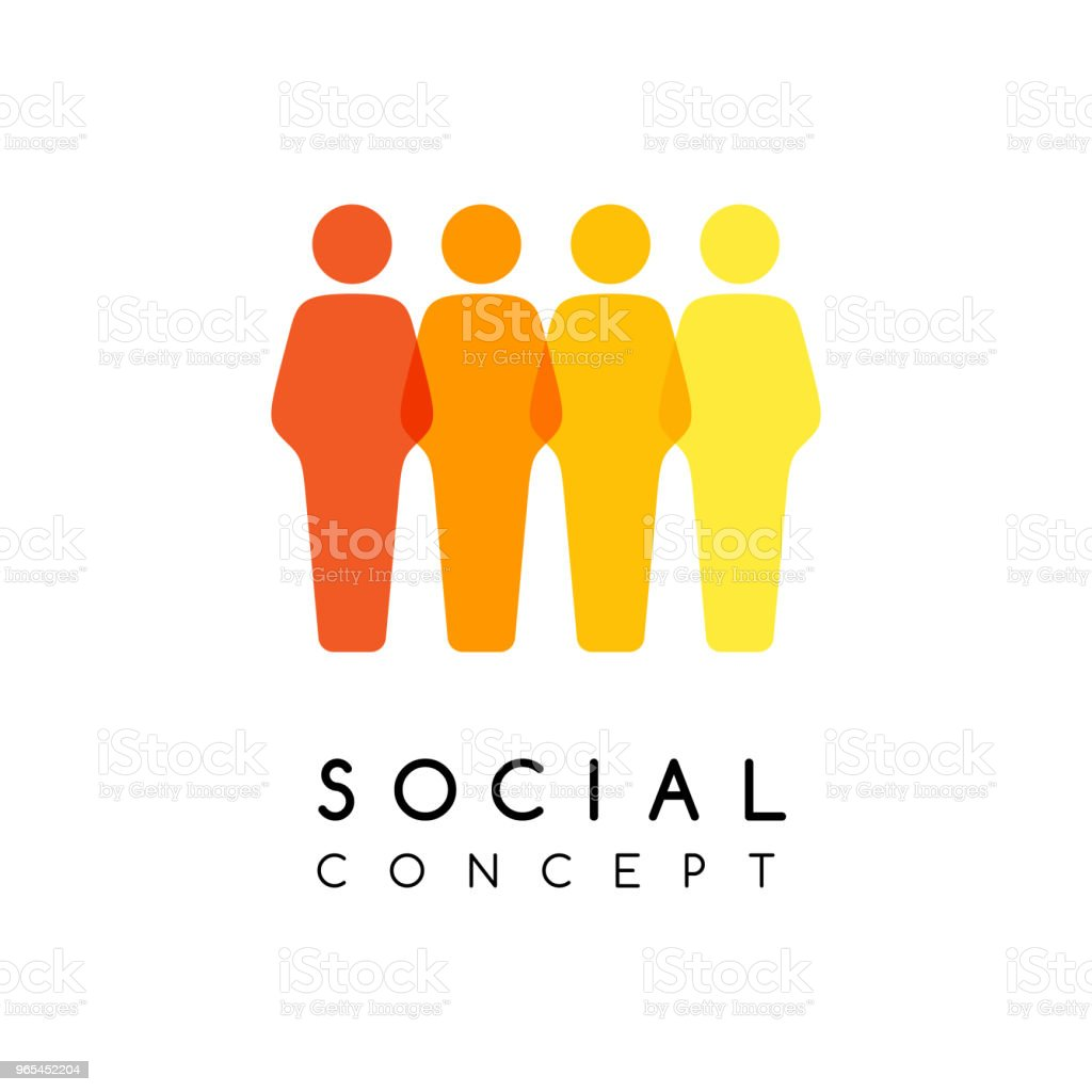 Social conceptual emblem. Men silhouettes in overlay style. royalty-free social conceptual emblem men silhouettes in overlay style stock vector art & more images of adult
