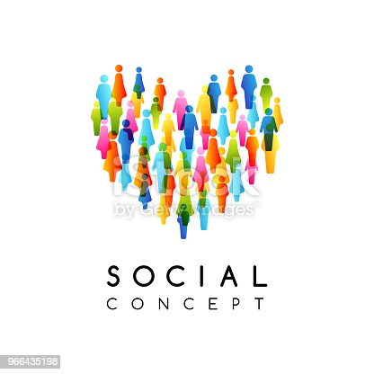 istock Social conceptual emblem. Vector illustration with heart sign with colorful people silhouettes texture. 966435198