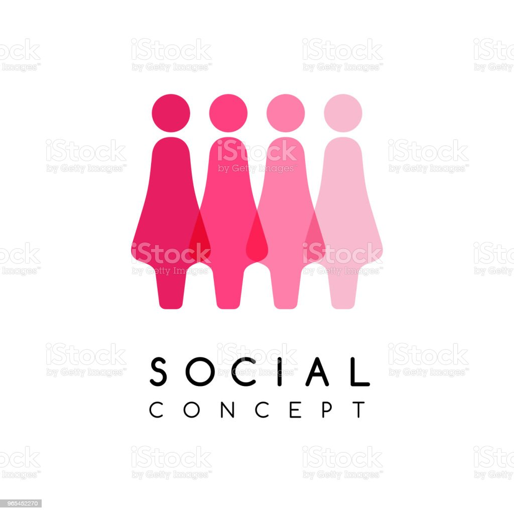 Social conceptual emblem. Women silhouettes in overlay style. royalty-free social conceptual emblem women silhouettes in overlay style stock vector art & more images of adult
