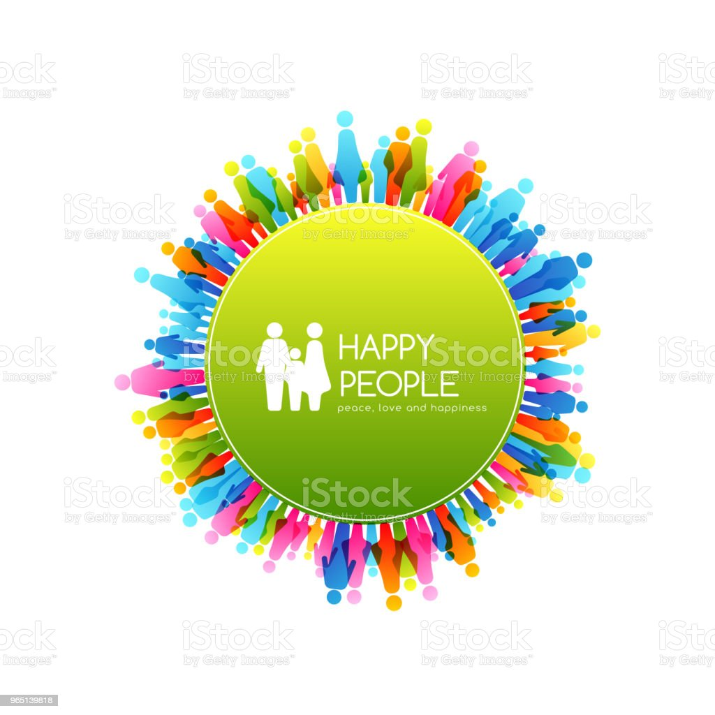 Social conceptual illustration. Round frame with border from colorful people icons. social conceptual illustration round frame with border from colorful people icons - stockowe grafiki wektorowe i więcej obrazów biznes royalty-free