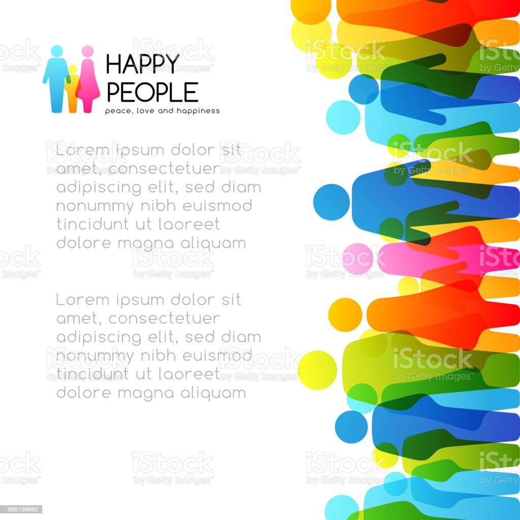 Social conceptual illustration. Vector background with vertical border from colorful people icons. royalty-free social conceptual illustration vector background with vertical border from colorful people icons stock vector art & more images of adult
