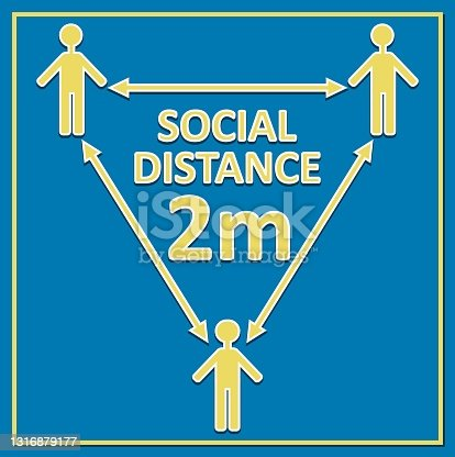 istock social distance 2m label with figures and arrows, yellow drawing on blue background, triangle composition 1316879177