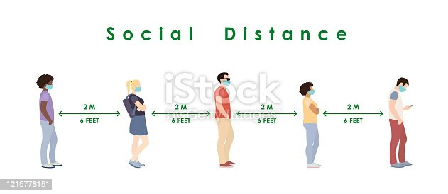 social distance. Full length of cartoon sick people in medical masks standing in line against at a safe distance of 2 meters or 6 feet. flat vector illustration.