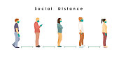 social distance. Full length of cartoon sick people in medical masks and gloves standing in line against at a safe distance of 2 meters or 6 feet. flat vector illustration.