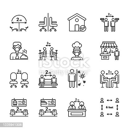 Social Distance Line Icon Set. Contain such icons as Keep Safe Distance, Stay Home, Prevention and more.