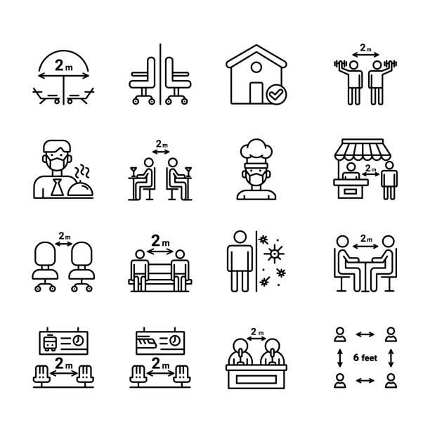 bildbanksillustrationer, clip art samt tecknat material och ikoner med ikonuppsättning för social avstånd - sittplats