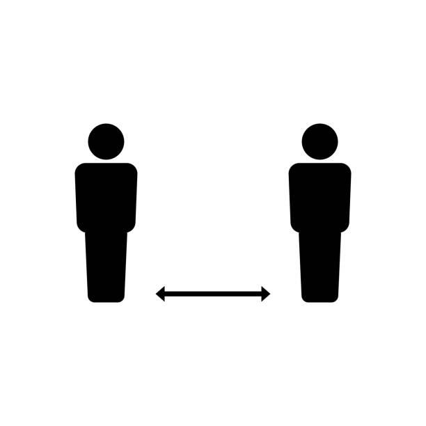 Social distance icon symbol simple design vector art illustration