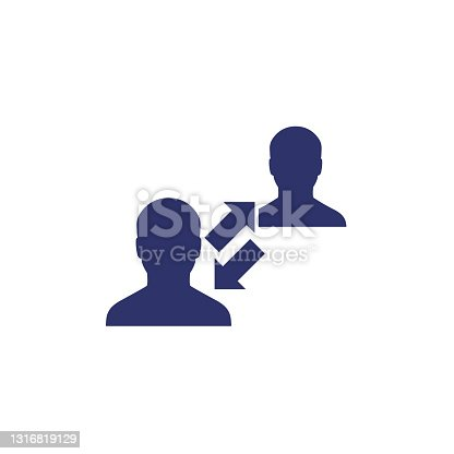 istock Social distance icon with people, vector 1316819129
