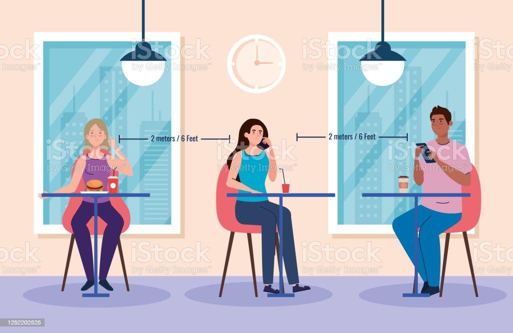 Soziale Distanz In Neuem Konzept Menschen Essen Auf Tischen Schutz Prävention Von Coronavirus Covid 19 Stock Vektor Art und mehr Bilder von 2019