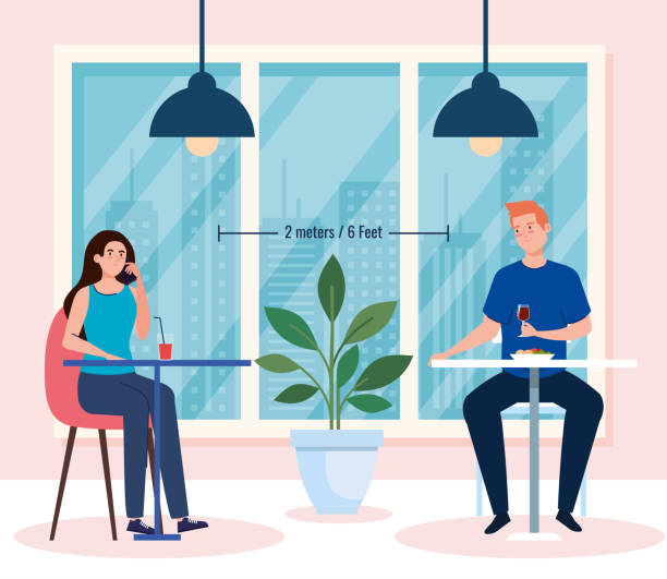 social distance in new concept restaurant , couple eating on tables, protection, prevention of coronavirus covid 19 vector art illustration