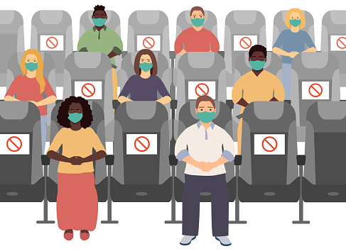 Social distance in the cinema. People keep distance, sit through one chair prohibition signs, safe. Vector illustration