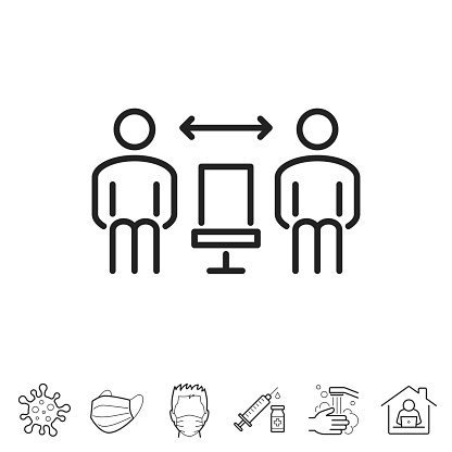 Social distance - Seated people. Trendy icon isolated on white and blank background for your design. Includes 6 popular icons: - Coronavirus cell (COVID-19), - Medical or surgical face mask, - Man in medical face protection mask, - Vaccination - Syringe and vaccine vial, - Washing hands with soap and water, - Work from home. Vector Illustration (EPS10, well layered and grouped), easy to edit, manipulate, resize or colorize. And Jpeg file of different sizes.